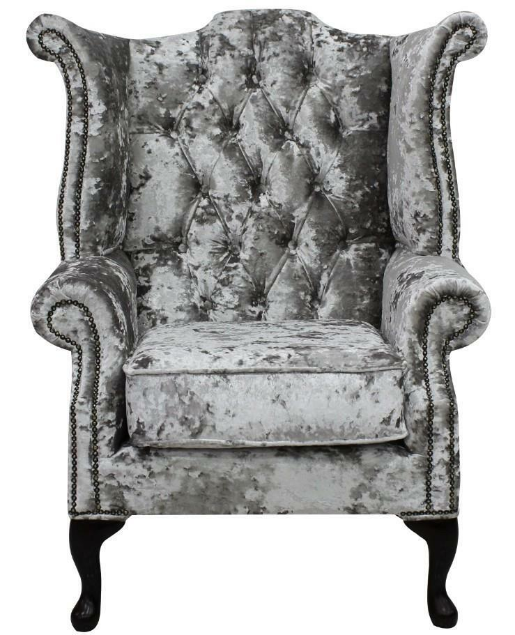 Chesterfield Armchair Queen Anne Wing Chair Lustro Argent ...