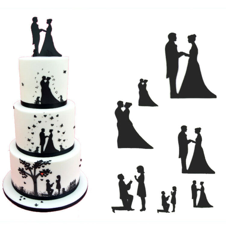 silhouette wedding cake cutters patchwork cutters wedding silhouette set cake decorating 19822