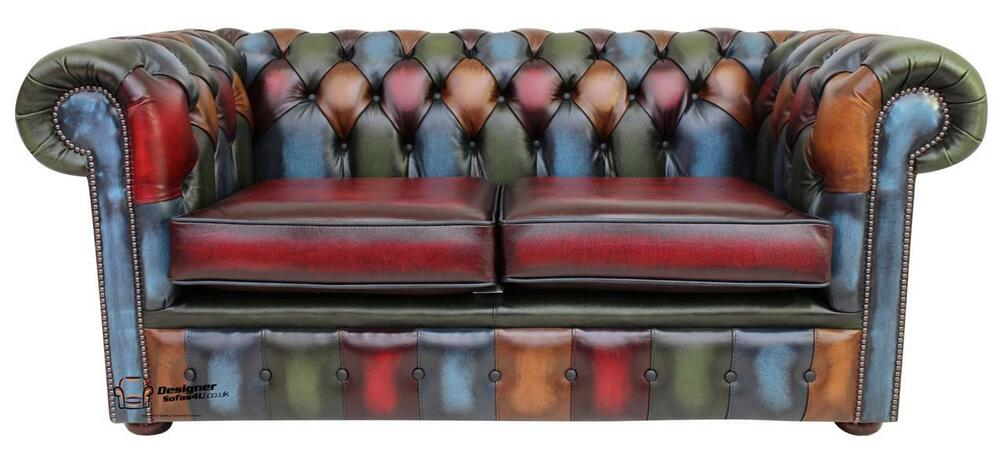 chesterfield 2 seater antique patchwork antique leather sofa settee ebay. Black Bedroom Furniture Sets. Home Design Ideas