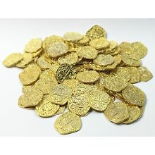 Pirate Treasure Coins - 10 Metal Gold Colored Doubloon Props
