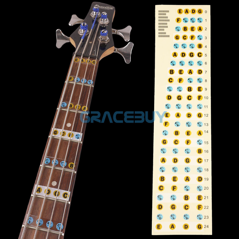 4 string guitar bass fret notes lable stickers neck fretboard maker note decals ebay. Black Bedroom Furniture Sets. Home Design Ideas