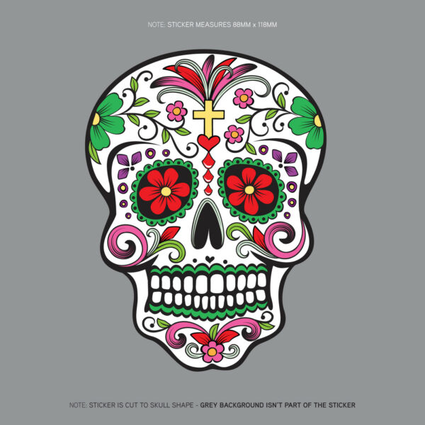 Day Of The Dead - Calavera - Sugar Skull - Flower - Decal/Sticker - SKU1127