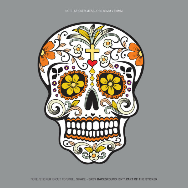 Day Of The Dead - Calavera - Sugar Skull - Flower - Decal/Sticker - SKU1129