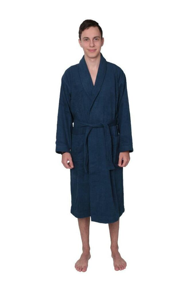mens 100 cotton spa terry cloth long bath robe bathrobe blue 4 sizes s m l xl ebay. Black Bedroom Furniture Sets. Home Design Ideas
