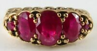 DIVINE 9K 9CT GOLD LARGE 5 STONE INDIAN RUBY ETERNITY BAND RING FREE RESIZE