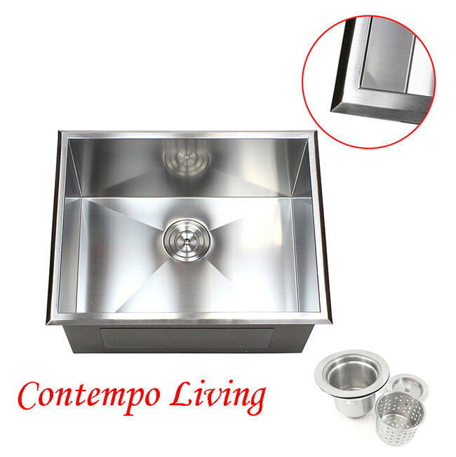 23 topmount drop in stainless steel l kitchen utility laundry sink 12 deep ebay. Black Bedroom Furniture Sets. Home Design Ideas