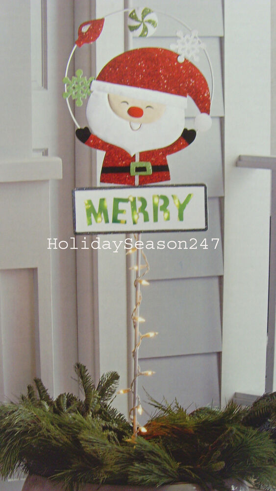 santa lawn stake 35 lights metal sign merry christmas yard