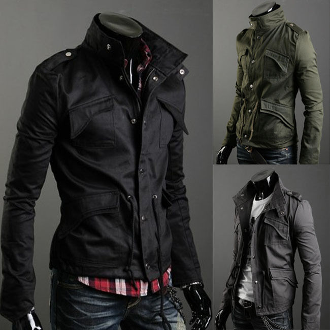 Gray Men Zip Button Hooded Military Slim Fit Collar Jacket Coat Outwear Fashion Ebay