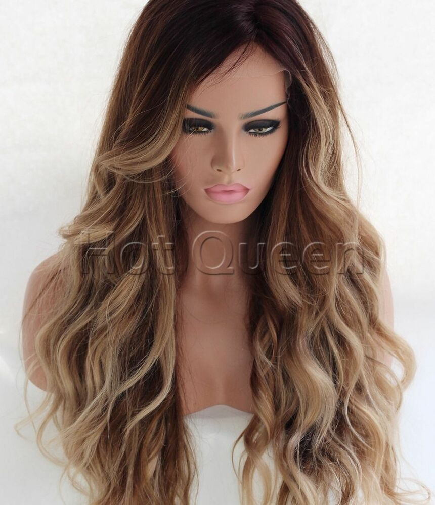 100 Brazilian Remy Human Hair Ombre Long Wavy Full Lace
