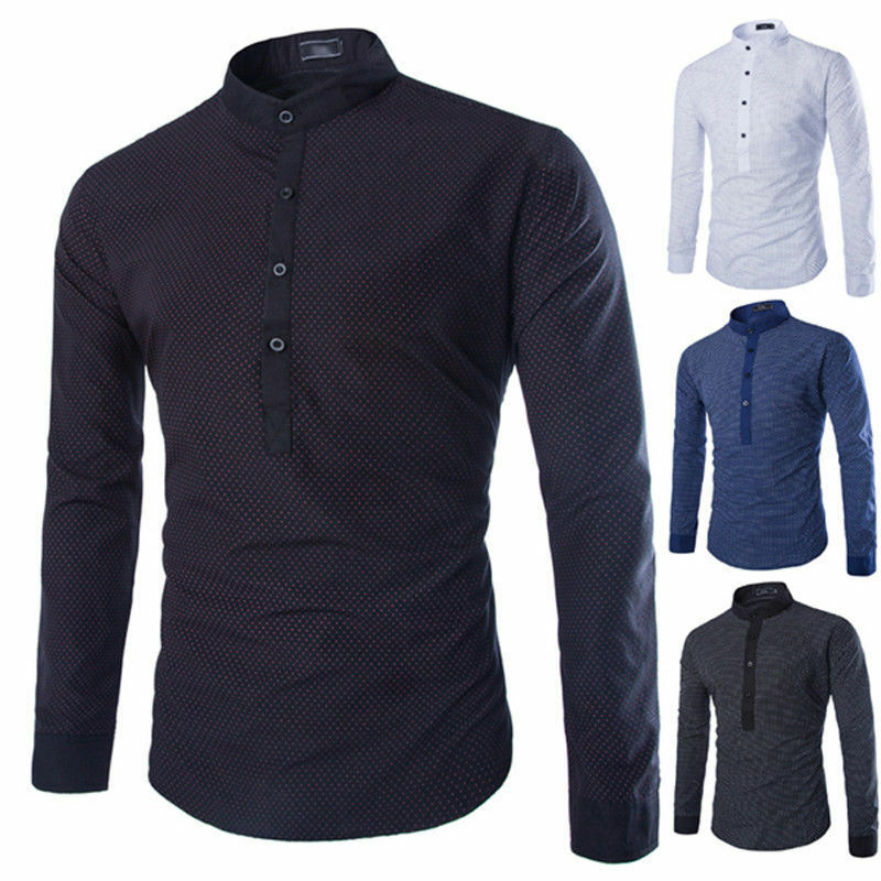 Cool men 39 s kurta style shirts crew neck mandarin father for Cool mens casual shirts