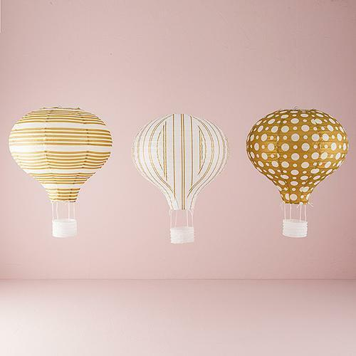 Hot air balloon gold white paper lantern wedding