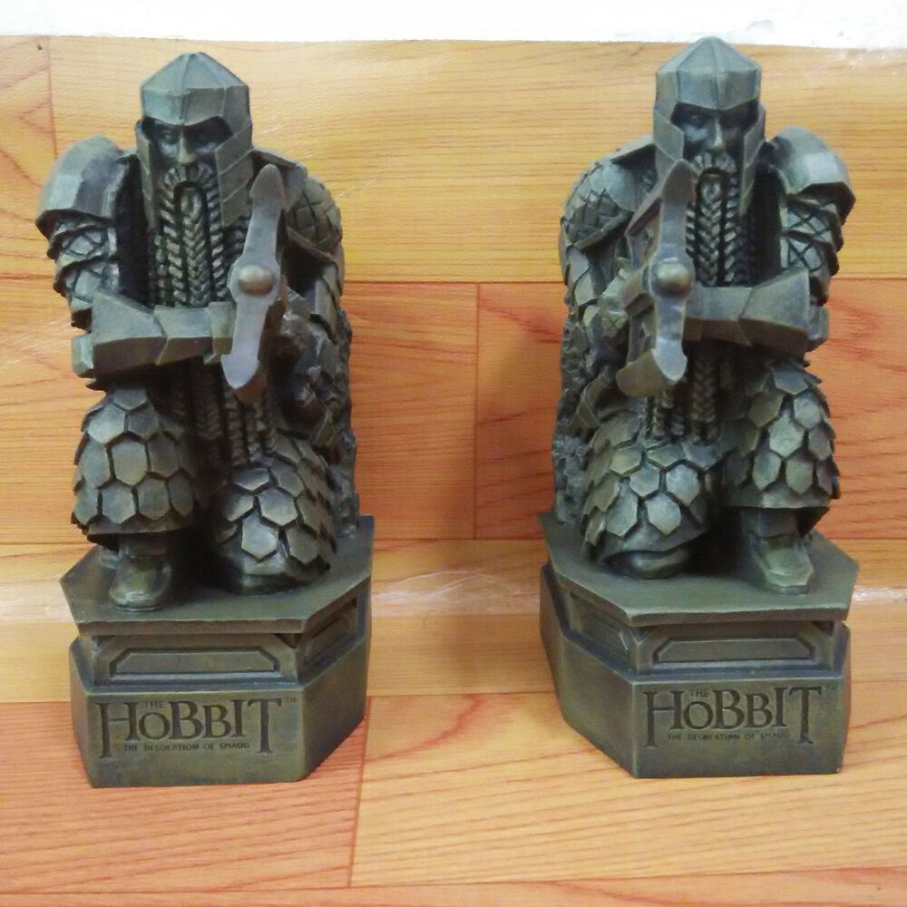 2pcs the hobbit 2 the desolation of smaug lonely mountain dwarf statue bookends ebay - Hobbit book ends ...