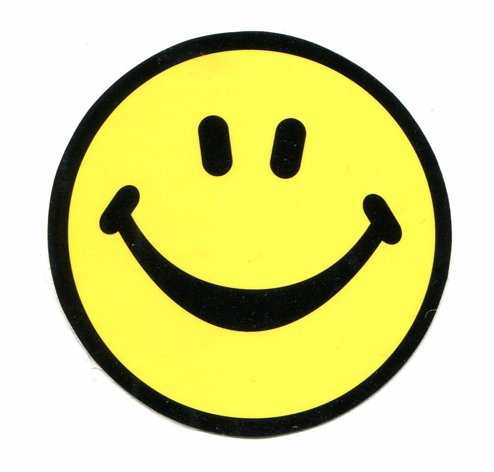 Happy Smiley Face Yellow Amp Black 3 Quot Sticker Window