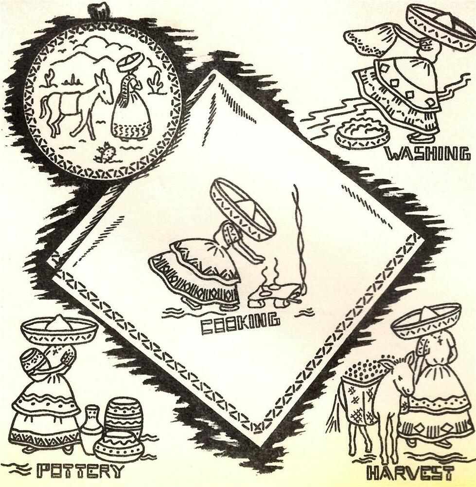Vtg Embroidery Iron On Transfer 3635 Mexican Girl For Dish