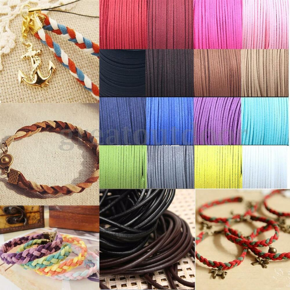 Suede braided leather string cord craft bracelet jewelry for Wholesale leather craft supplies