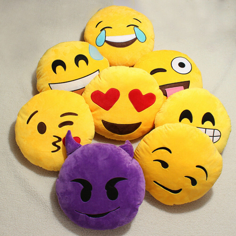 Yellow Round Cushion Soft Emoji Emoticon Stuffed Plush Toy