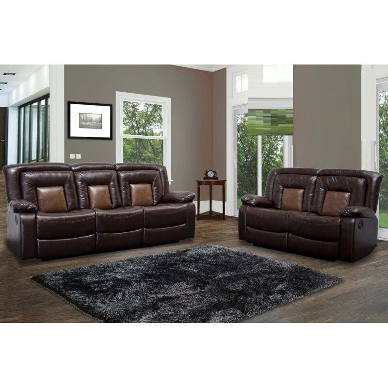 modern 2pc sofa set chocolate brown living room sofa