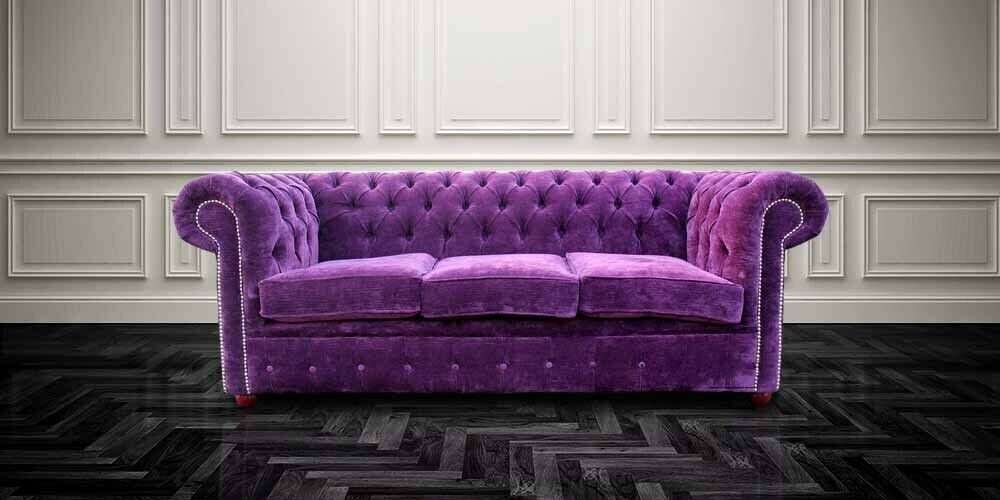 chesterfield original 3 seater velluto amethyst purple fabric sofa settee ss ebay. Black Bedroom Furniture Sets. Home Design Ideas