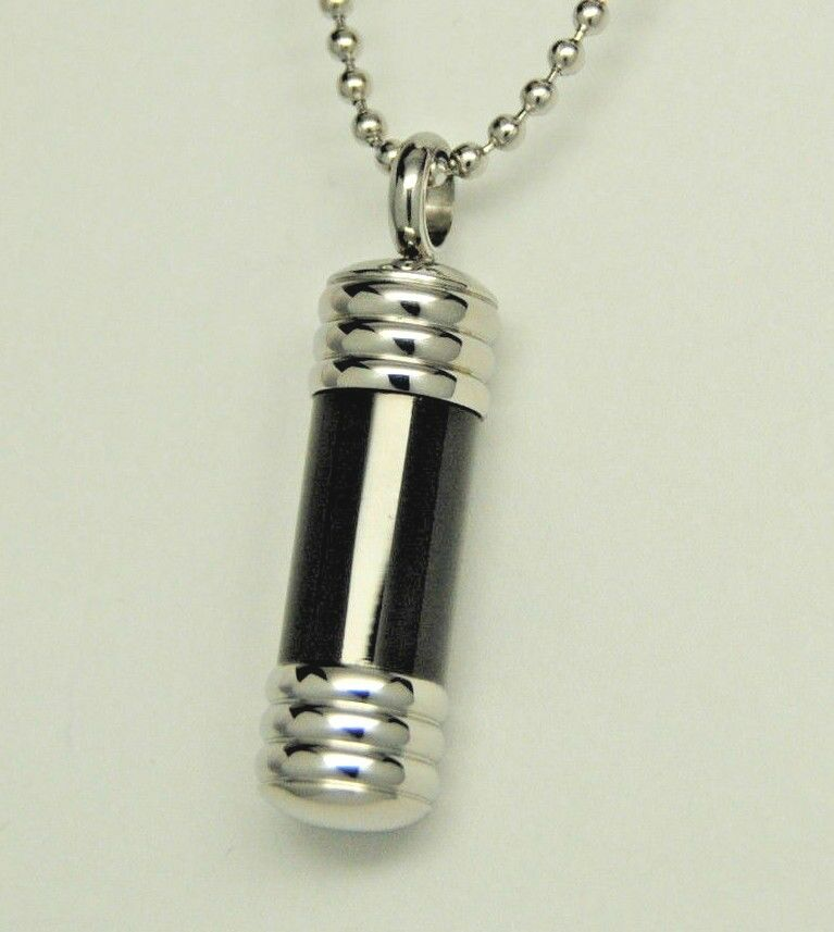 Men 39 s black cylinder urn necklace stainless steel for Stainless steel cremation jewelry