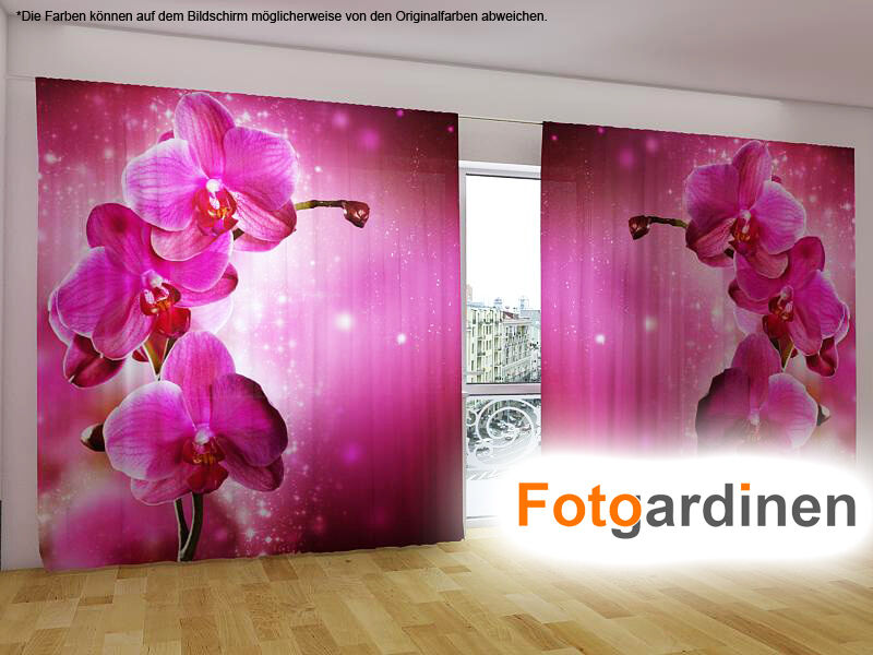 fotogardinen orchidee vorhang mit motiv fotodruck. Black Bedroom Furniture Sets. Home Design Ideas