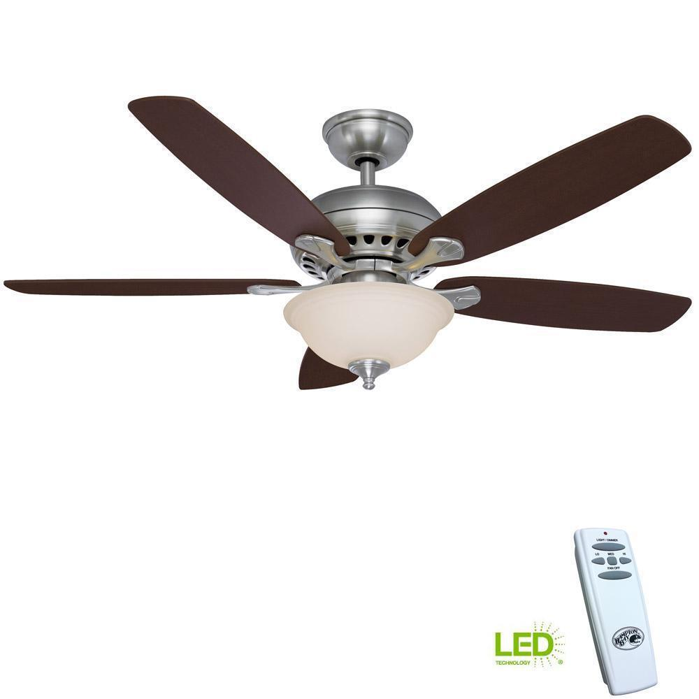 Lighting Fans: NEW 52'' Brushed Nickel Ceiling Fan W/ Remote Control