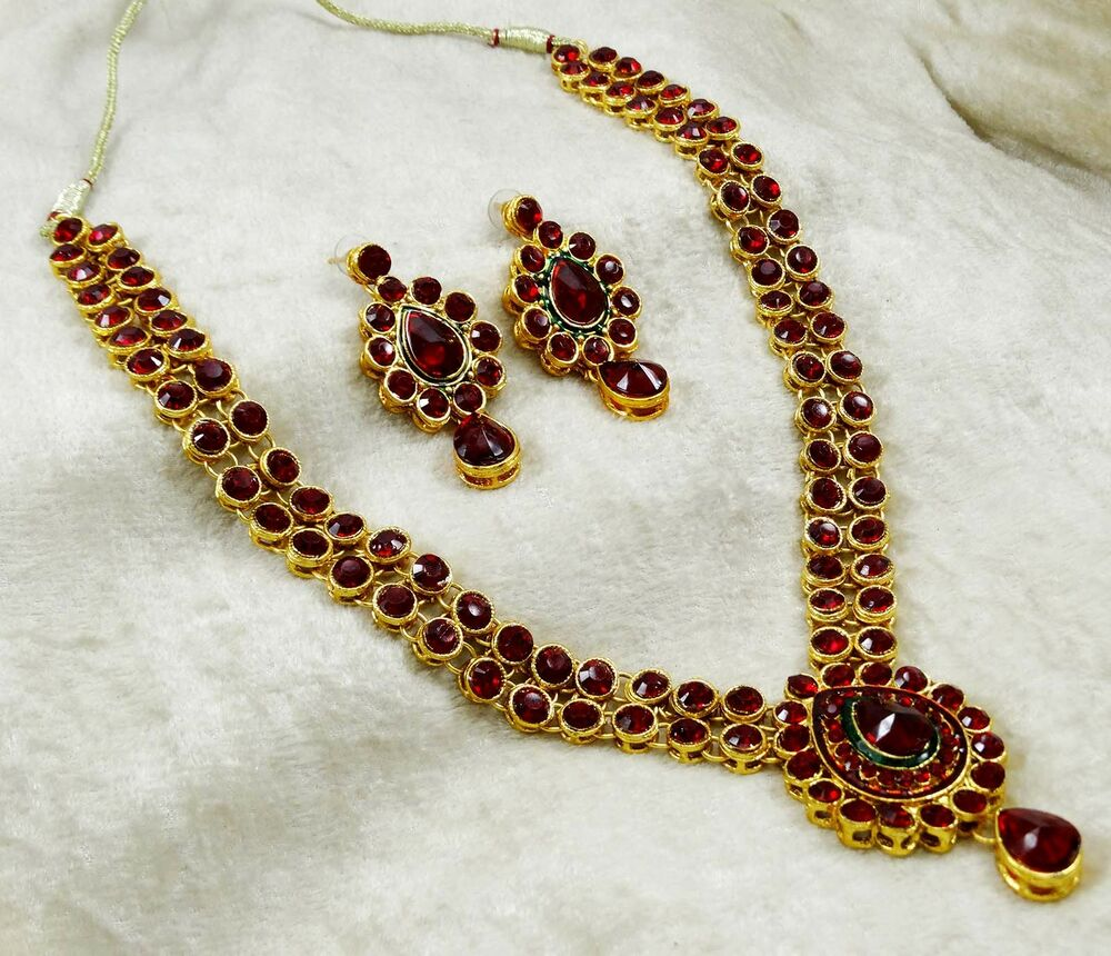 New Necklace Earring Set Gold Polki Jewellery Indian: Bollywood Designer Gold Plated Indian Necklace Earring Set