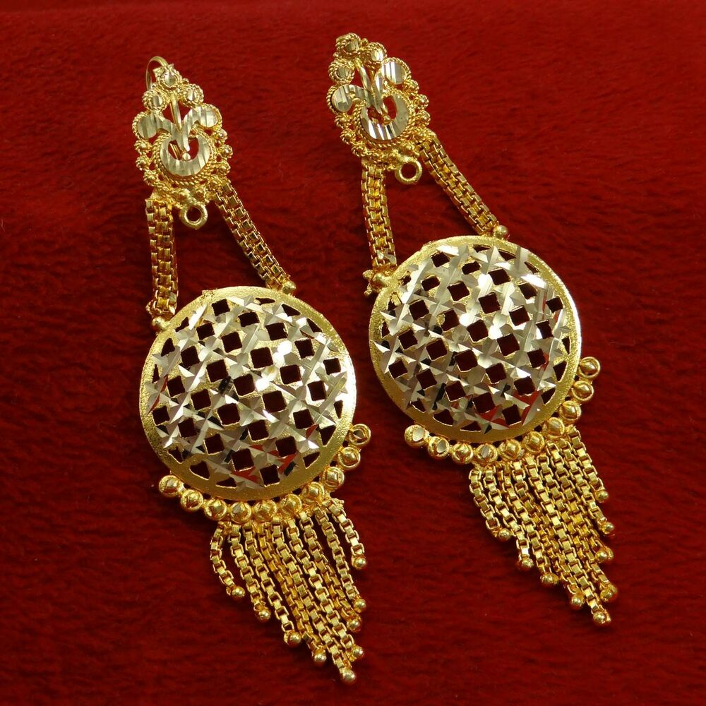 Bridal Jewelry Indian Wedding: Gold Plated Ethnic Indian Chandelier Earrings Traditional