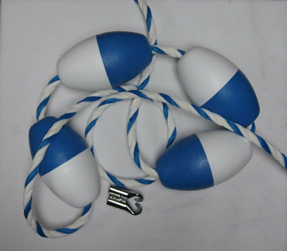 18 39 x 3 4 blue white twisted safety rope with floats. Black Bedroom Furniture Sets. Home Design Ideas
