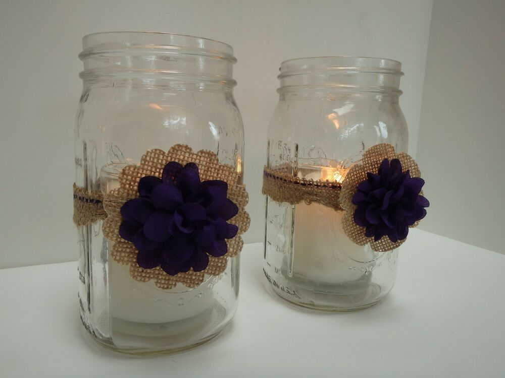 Rustic burlap plum mason jar candle centerpiece wedding