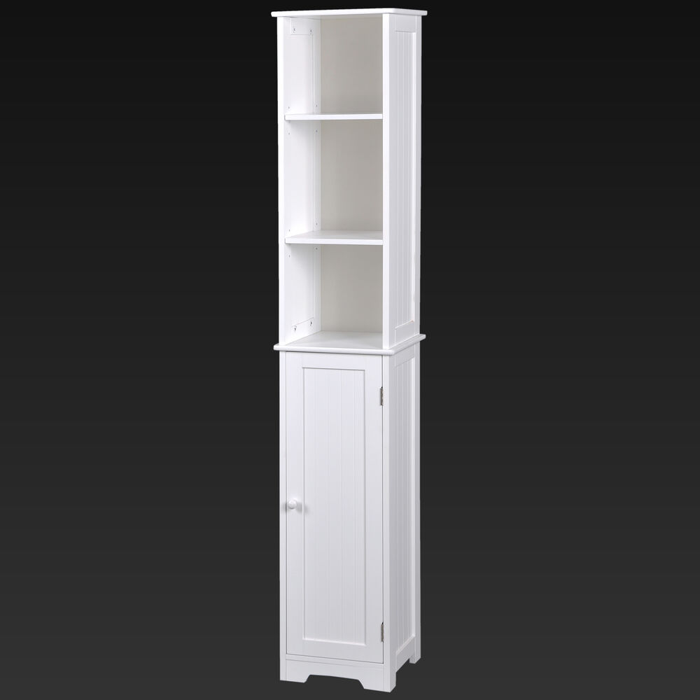 Tall white wooden shelving unit with cupboard stylish mdf - White tall bathroom storage unit ...
