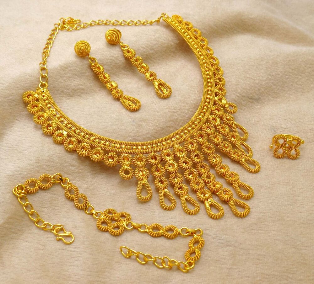 Gold Plated Necklace Earrings Set Indian Traditional: Bollywood Bridal Gold Plated Ethnic 4pcs Necklace Earrings