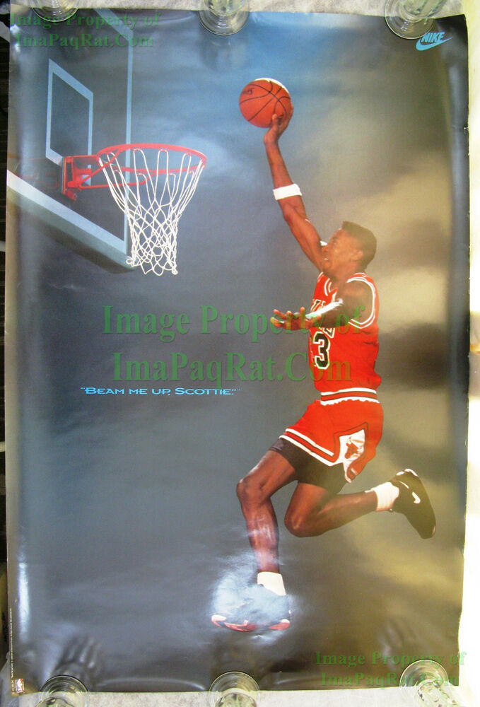 Vintage Original Nike Poster Beam Me Up Scottie Pippen
