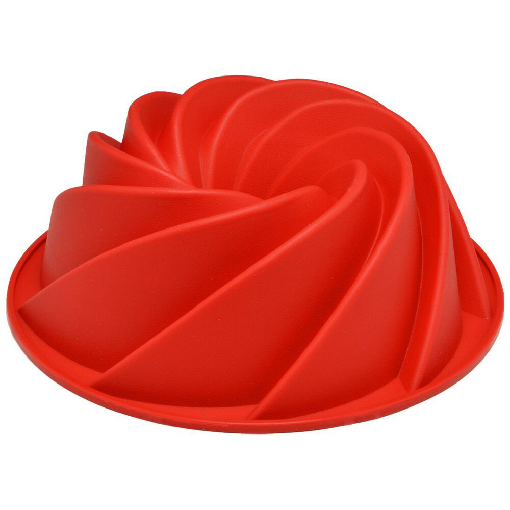 Red Large Spiral Shape Bundt Cake Pan Bread Chocolate