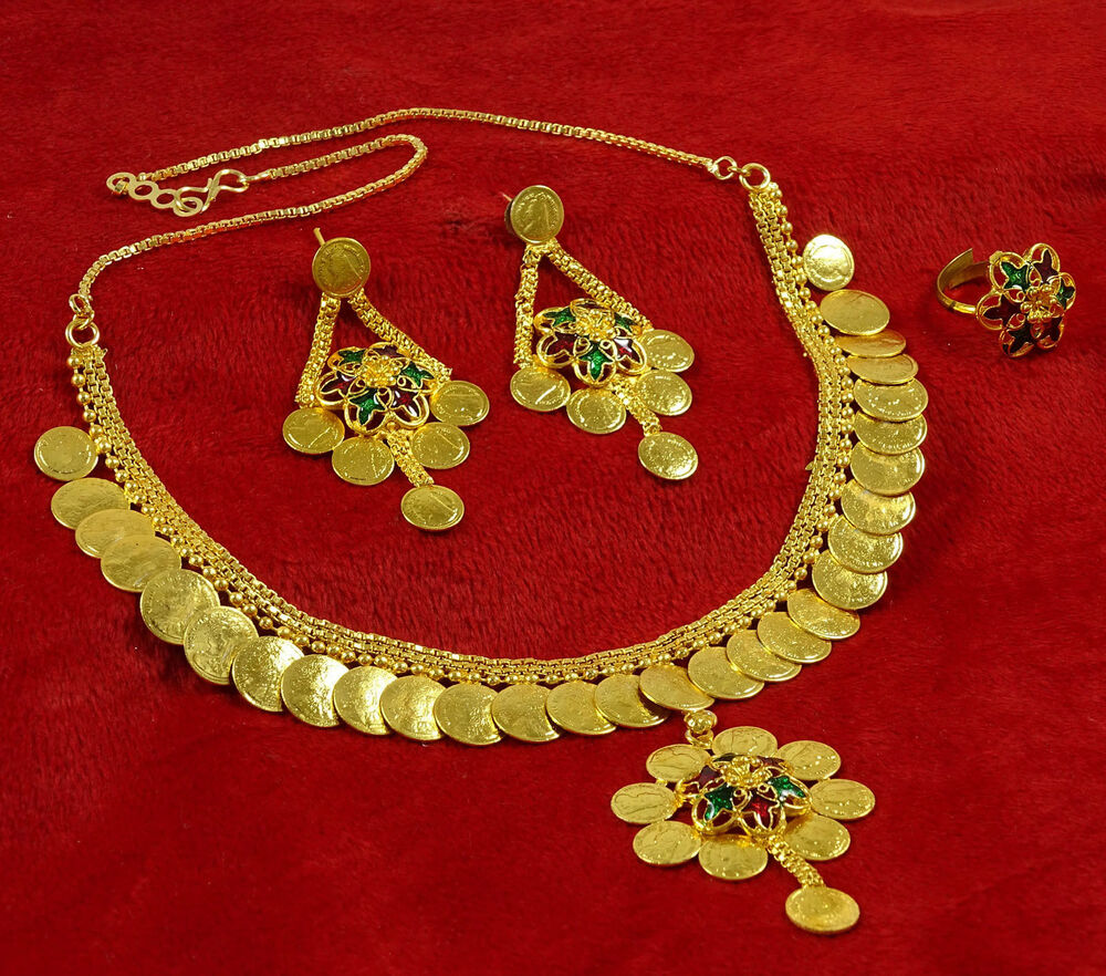 Indian Gold Plated Choker Necklace Traditional Bridal: Traditional Gold Plated Ethnic South Indian Necklace