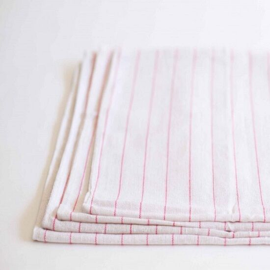 12 100% COTTON TOWELS RED STRIPES DISH GLASS TOWELS LINT
