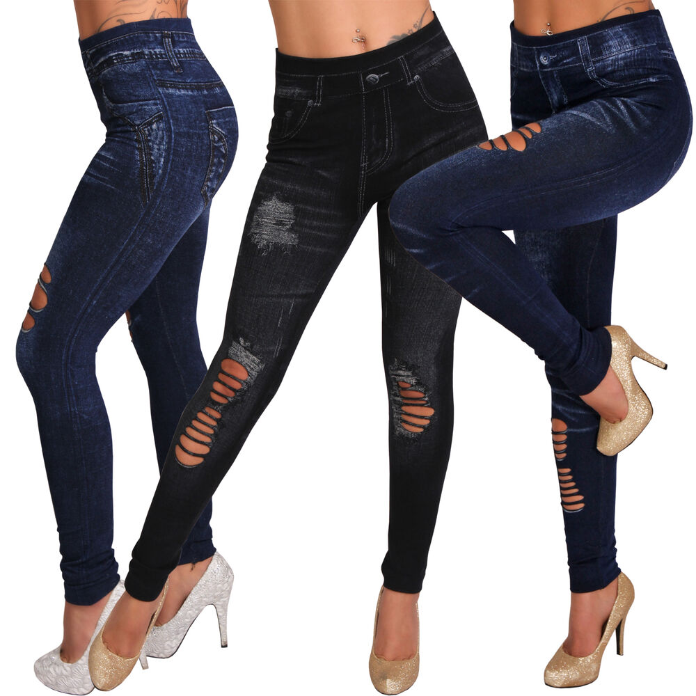 Slim Leggins Schlitze Hose Destroyed Jeans Look Leggings ...