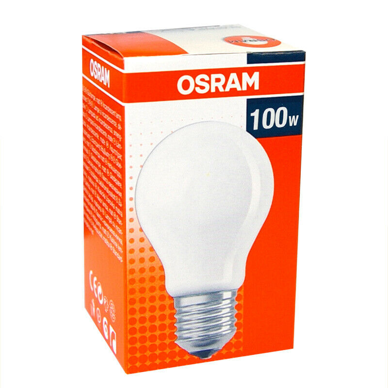 1 x osram gl hbirne 100w e27 matt gl hlampe 100 watt gl hbirnen gl hlampen birne ebay. Black Bedroom Furniture Sets. Home Design Ideas