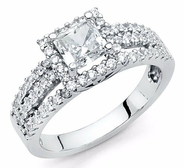 Square Princess Cut 14K Solid White Gold Diamond Solitaire Engagement Ring