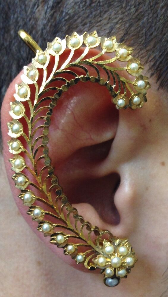 Antique 22k Yellow Gold Indian Ear Cuff Wrap Pearl