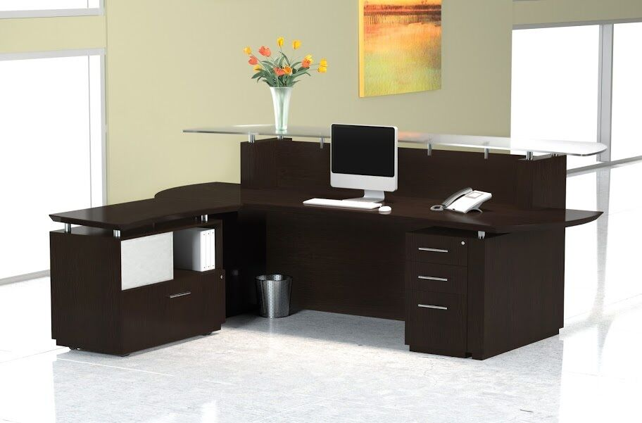 Mayline Sterling 96 Wide Reception Desk W Lateral File Cabinet In Mocha Finish