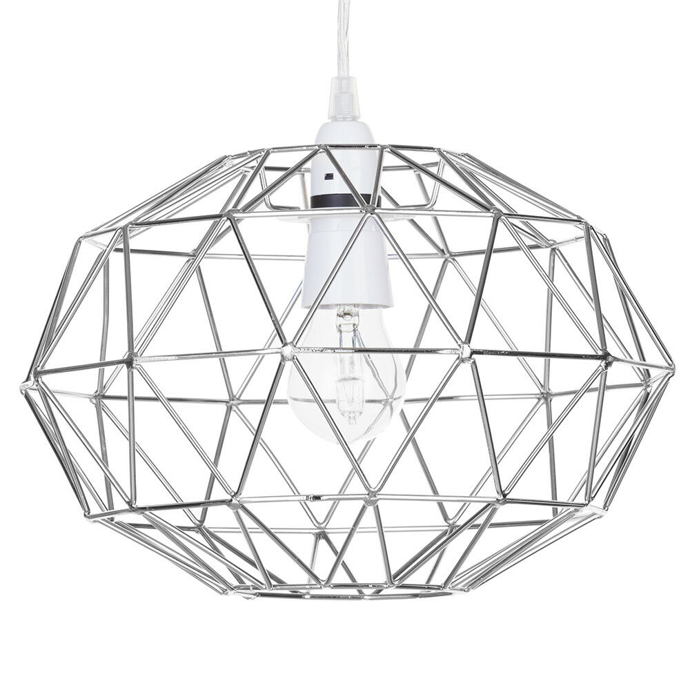 metal easy fit wire frame oval cage ceiling light shade in