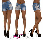 New Womens Sexy Denim Lace Hot Pants Shorts Pants Ladies Denim Short Size 8-14