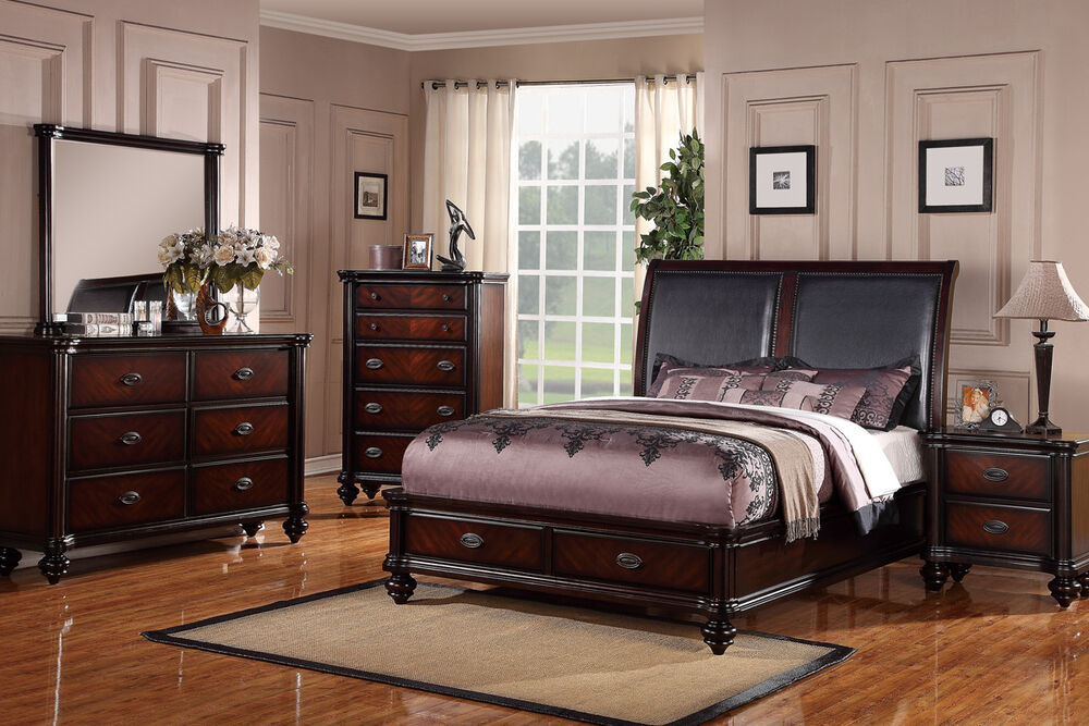 Modern 4 pc bedroom set queen cal king est king bed black for 4pc queen size bedroom set with wood grain in black finish