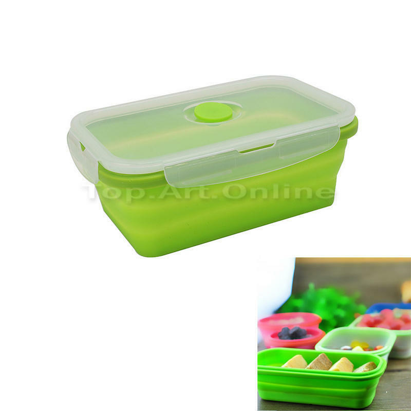 collapsible rectangular lunch bowl bento box food storage container 18 11 5 7. Black Bedroom Furniture Sets. Home Design Ideas
