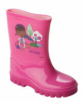 GIRLS DOC MCSTUFFINS PINK WELLIES WELLINGTON RAIN SNOW BOOTS UK SIZE 4-10