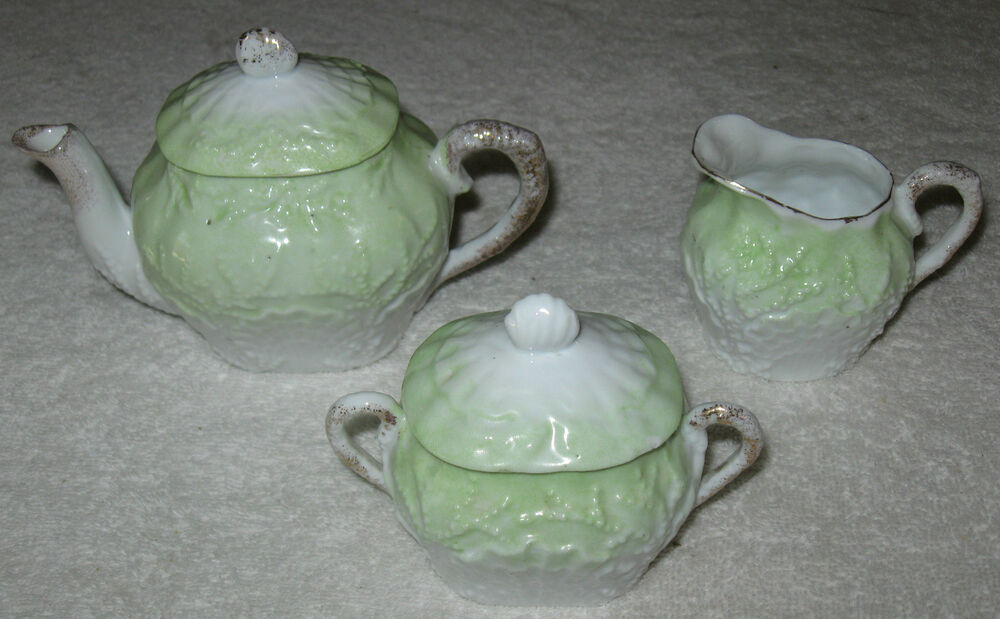 Antique vintage european china tea set pot creamer Green tea pot set