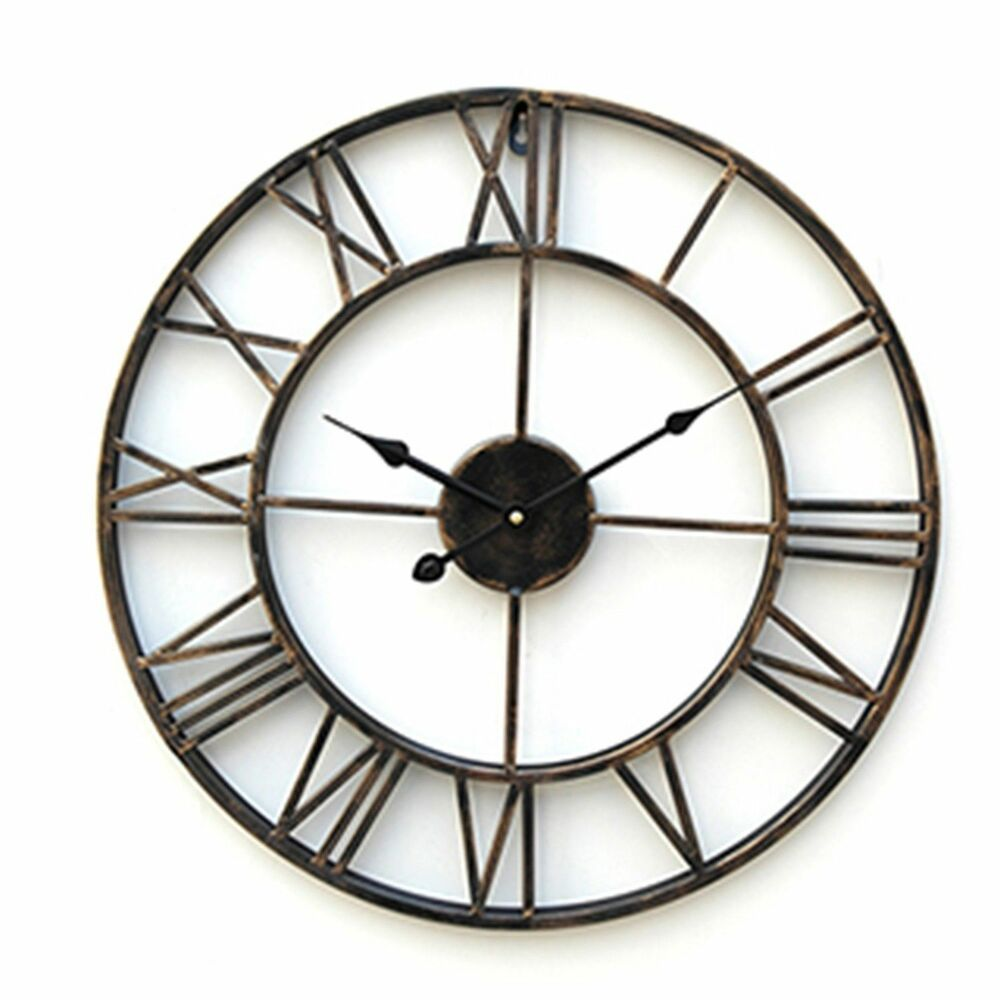 Big large wall clock 20 inch oversized iron howard miller quartz antiqued clock ebay - Mondaine wall clock cm ...