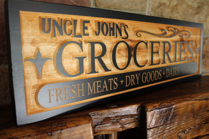 Vintage country style grocery sign wood personalized