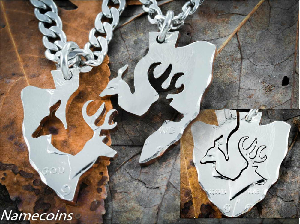 Couples arrowhead necklaces buck and doe interlocking deer cut from