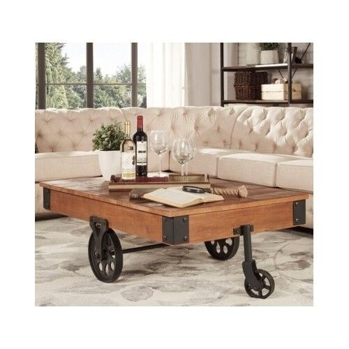 Industrial Coffee Table Cart Rustic Reclaimed Wood Metal Vintage Furniture Wheel Ebay